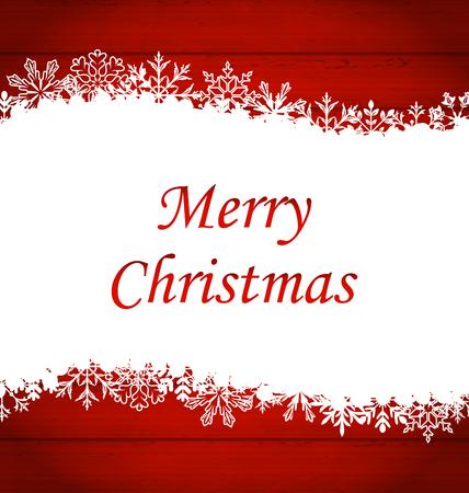 Illustratie Kerst Kader gemaakt van sneeuwvlokken, Rode Houten Achtergrond - raster