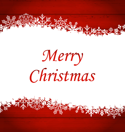 Ilustracja Christmas ramy wykonane z płatki śniegu, Red drewniany tła - grafiki rastrowej