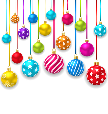 christmas ornaments: Illustration Collection Colorful Christmas Ornamental Balls - raster Stock Photo