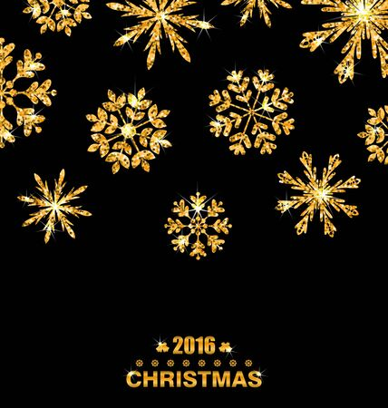 felicitation: Illustration Golden Celebration Card with Sparkle Snowflakes, Glittering Luxury Background - raster