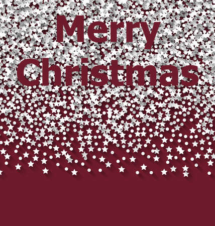 trumpery: Lettering Merry Christmas on red backdrop white snow particles - raster
