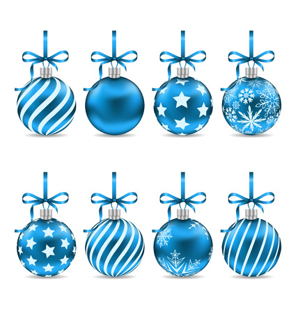 weihnachten: Illustration Set Christmas Blue Shiny Balls with Bow Ribbons and Different Textures, Isolated on White Background - raster Stock Photo
