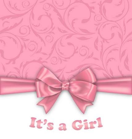 invitacion baby shower: Ilustración de la tarjeta de la invitación de la ducha de la niña con el arco rosado de la cinta - de trama Foto de archivo