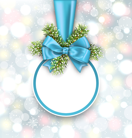 weihnachten: Illustration Merry Christmas Elegant Card with Bow Ribbon and Pine Twigs, on Shimmering Background - raster