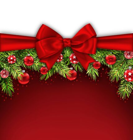 felicitation: Illustration Christmas Postcard with Bow Ribbon, Fir Twigs, Glass Balls, Copy Space for Your Text - raster