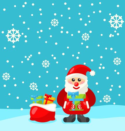 kris: Jolly Christmas Santa Holding Up A Stack Of Presents In The Snow - raster