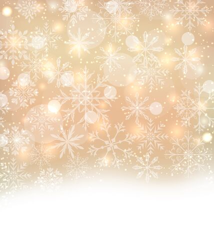 shimmering: Illustration Shimmering Xmas Light Background with Snowflakes, Winter Wallpaper - raster Stock Photo