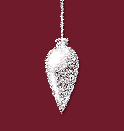 trumpery: Christmas tree icicle red backdrop made from white hoarfrost particles - raster