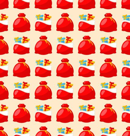 bagful: Merry Christmas and Happy New Year seamless pattern bagful with gifts - raster