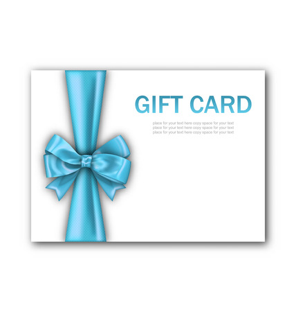 blue card: Illustration Decorated Gift Card with Blue Ribbon and Bow, Gift Voucher Template, Certificate Design - raster Stock Photo
