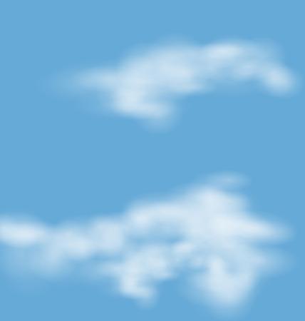 descriptive: Landscape atmosphere fluffy white clouds blue sky nature background - raster Stock Photo