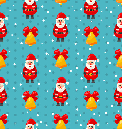 jingle: Merry Christmas and Happy New Year seamless pattern with Santa and jingle bell - raster