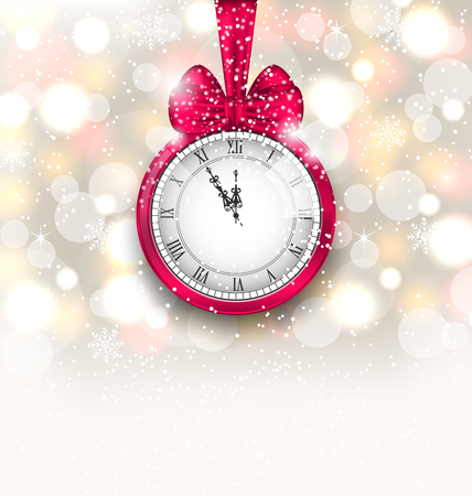 watch new year: Illustration New Year Midnight Sparkling Background with Clock and Bow - raster Stock Photo