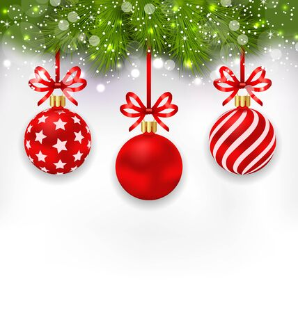 weihnachten: Illustration Light Wallpaper with Fir Twigs and Red Glassy Balls for Happy Winter Holidays - raster Stock Photo