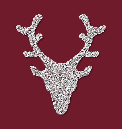 trumpery: Symbol new year xmas deer head red backdrop made from white hoarfrost particles - raster