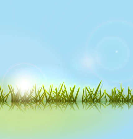water reflection: Morning meadow grass green reflection on water lake over blue sky background and bright sun - raster