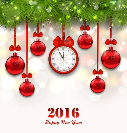 watch new year: Illustration New Year Magic Background with Clock, Fir Twigs and Glass Balls - raster