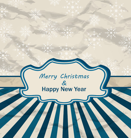 artboard: Illustration Vintage Celebration Card with Snowflakes Texture for Merry Christmas and Happy New Year- raster Stock Photo