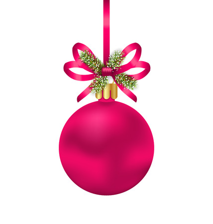 felicitation: Illustration Christmas Pink Ball with Bow Ribbon and Fir Twigs, Isolated on White Background - raster Stock Photo