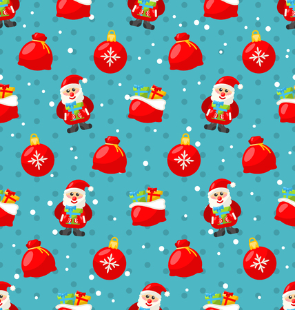 bagful: Merry Christmas and Happy New Year seamless pattern with Santa and gifts - raster