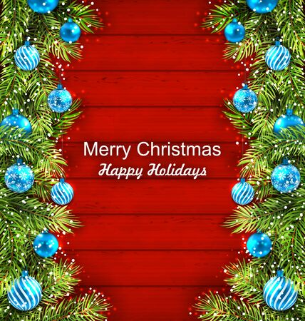 twigs: Illustration Christmas Artwork with Fir Twigs and Glass Balls, Holiday Wallpaper - raster