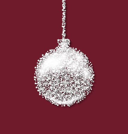 rime frost: Christmas ball on red backdrop made from white hoarfrost particles - vector