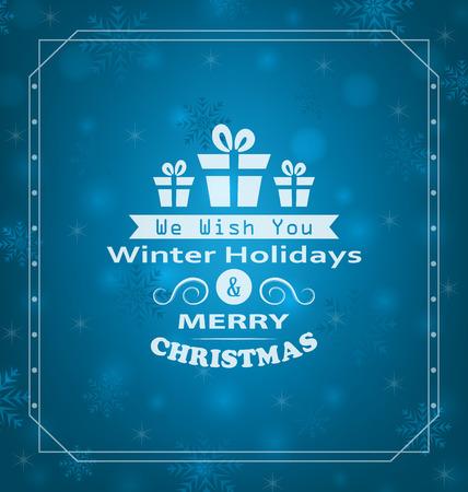 wishes: Illustration Merry Christmas Wishes, Typography Design. Celebration Card Frame - Vector Illustration
