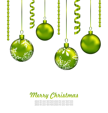 weihnachten: Illustration Christmas Card with Green Balls and Streamer, Isolated on White Background - Vector