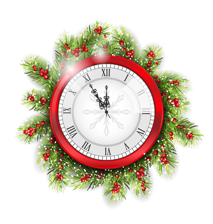 watch new year: Illustration Christmas Fir Branches with Clock, New Year Decoration on White Background - Vector Illustration