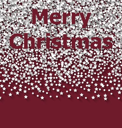 rime frost: Lettering Merry Christmas on red backdrop white snow particles - vector