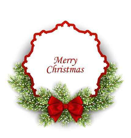 felicitation: Illustration Merry Christmas Greeting Card with Fir Twigs and Bow, Isolated on White Background - Vector