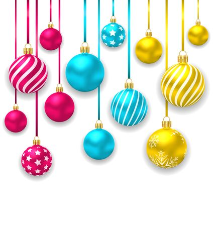 christmas baubles: Illustration Elegant Background with Collection Colorful Christmas Glass Balls - Vector
