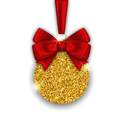 twinkle: Illustration Glitter Christmas Ball with Golden Surface and Twinkle, on White  Background - Vector Illustration