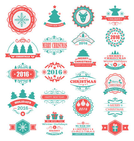 Illustration Merry Christmas and Happy Holidays Wishes. Set Typographic Elements, Vintage Labels, Frames, Ornaments - Vector