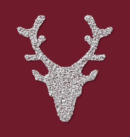 trumpery: Symbol new year xmas deer head red backdrop made from white hoarfrost particles - vector