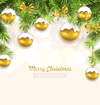 twigs: Illustration Natural Christmas Background with Fir Twigs and Glass Balls, Holiday Wallpaper - Vector Illustration