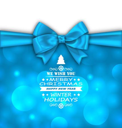 felicitation: Illustration Christmas Invitation with Bow Ribbon, Greeting Card Template - Vector Illustration