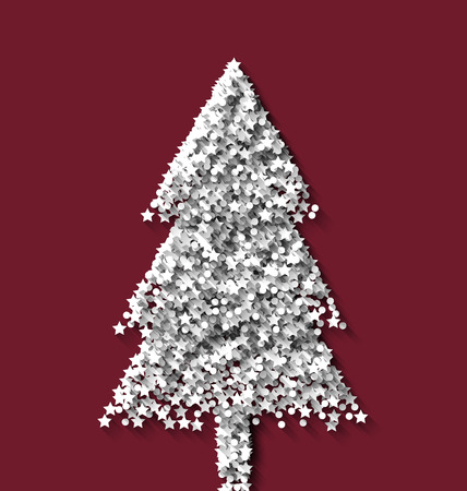 rime frost: Tree fir xmas on red backdrop made from white hoarfrost particles - vector Illustration