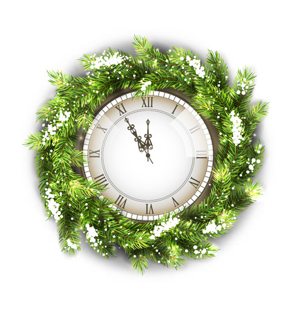 watch new year: Illustration Christmas Wreath with Clock, New Year Decoration on White Background - Vector