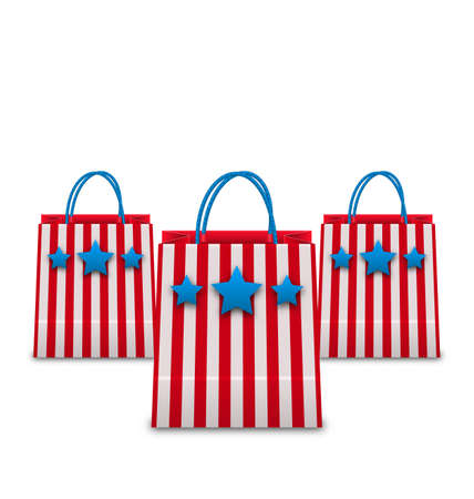 packets: Illustration Shopping Bags in American Patriotic Colors. Packets Isolated on White Background - Vector Stock Photo