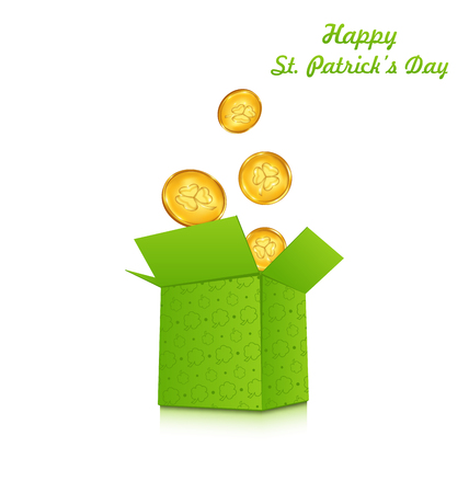 golden coins: Illustration open cardboard box with golden coins for St. Patricks Day, isolated on white background - raster Stock Photo