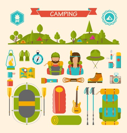 travel burner: Illustration Set of Camping and Hiking Equipment, Outdoors Adventure, Recreation Tourism, Colorful Symbols and Flat Icons Isolated - raster