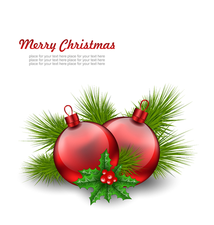 felicitation: Illustration Christmas Red Glass Balls with Fir Twigs and Holly Berry, on White Background - raster Stock Photo