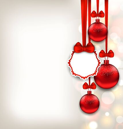 felicitation: Illustration Xmas Glitter Background with Celebration Card and Red Glass Balls with Bows Ribbon - raster Stock Photo