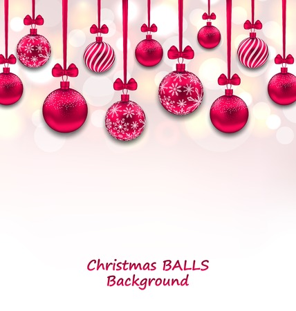 weihnachten: Illustration Christmas Background with Pink Glassy Balls with Bow Ribbon, Shiny Background - raster