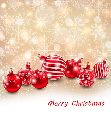 weihnachten: Illustration Christmas Abstract Shimmering Background with Red Balls, Shiny Wallpaper - raster