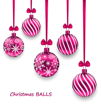 weihnachten: Illustration Christmas Card with Pink Glassy Balls with Bow Ribbon, Isolated on White Background - raster
