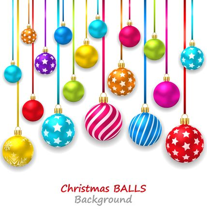 christmas toys: Illustration New Year Bckground with Set Colorful Christmas Ornamental Balls - raster Stock Photo