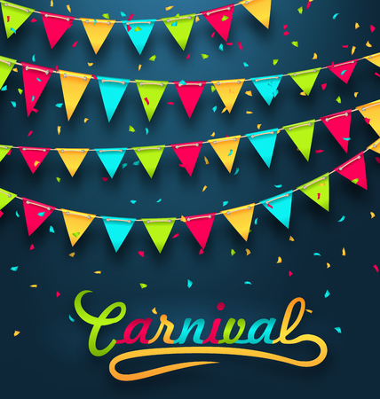 fair: Illustration Carnival Party Dark Background with Colorful Bunting Flags - raster