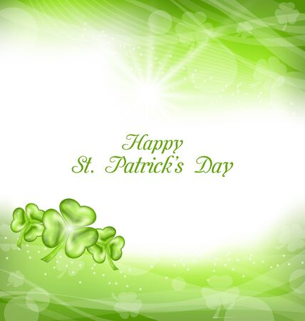 festal: Illustration Abstract Light Background with Green clovers for St. Patrick Day - raster Stock Photo